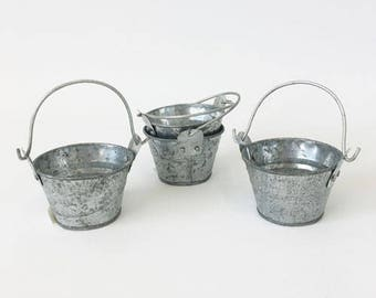10 x small galvanised buckets for bomboniere