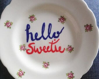Hello Sweetie - Doctor Who Riversong inspired Dessert Cake Plate Vintage Decorative Flowery beautiful inspirational film song