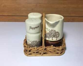 Vintage Salt and Pepper Set And Basket - Camping - Picnic - RV - Dipped Glaze - Brown - Drip Glaze - Ceramic Shakers