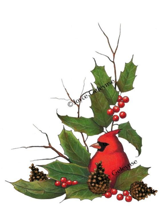 Christmas Clip Art: Cardinal Bird Hand Drawn Clipart Holly