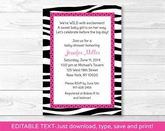Trendy Pink Zebra Print Baby Shower Invitation / Zebra Print Baby Shower Invite / Hot Pink & Black / INSTANT DOWNLOAD / Editable PDF A232