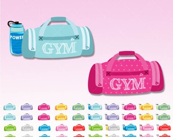 Gym Bag clipart - Gym graphics  perfect for Planner Stickers - Inserts - Dividers - Paperclips - Scrapbooking - Web graphics