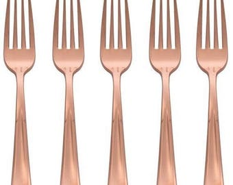 Rose Gold Forks Cutlery 32 Piece Set, Birthday Party Cutlery, Wedding Cutlery, Hen Party Cutlery, BBQ Cutlery, Garden Party Cutlery
