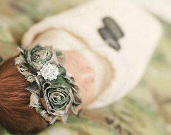 Camouflage headband, baby headband, Army headband, military baby bow