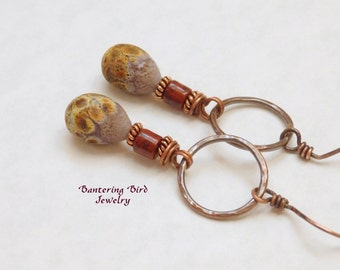 Southwestern Drop Earrings, Rustic Lampwork Glass on Hammered Copper Hoops, Etched Glass Beads, Boho Copper  Jewelry