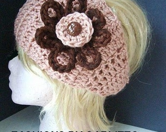 Crochet PATTERN Headband, num. 105... Make it with ties, or a button closure, both options given. instant download