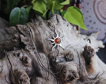 Sterling silver baltic amber sun and moon necklace