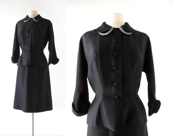 Vintage 1940s Suit | Claudette | 40s Suit | S M