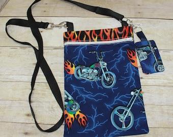 Crossbody Bag, Hipster Bag, Tablet Bag, eReader Bag, Motorcycles, Flames, Key Fob, Key Chain