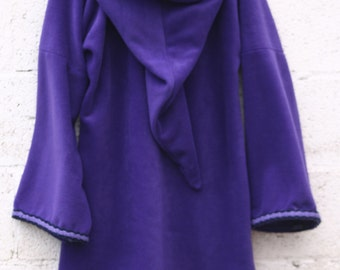 Elven tunic for women Purple - Medieval tunic - SCA - Pixie hoodie  -Psy hoodie- festival - hippie hoodie dress XXXL
