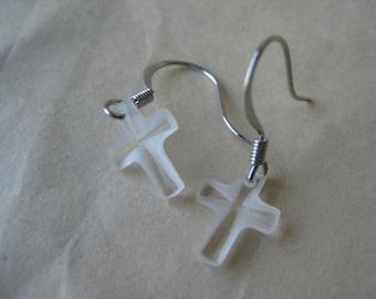 Cross Earrings Pierced Crystal Clear Silver Wire Glass Dangle Vintage Christian