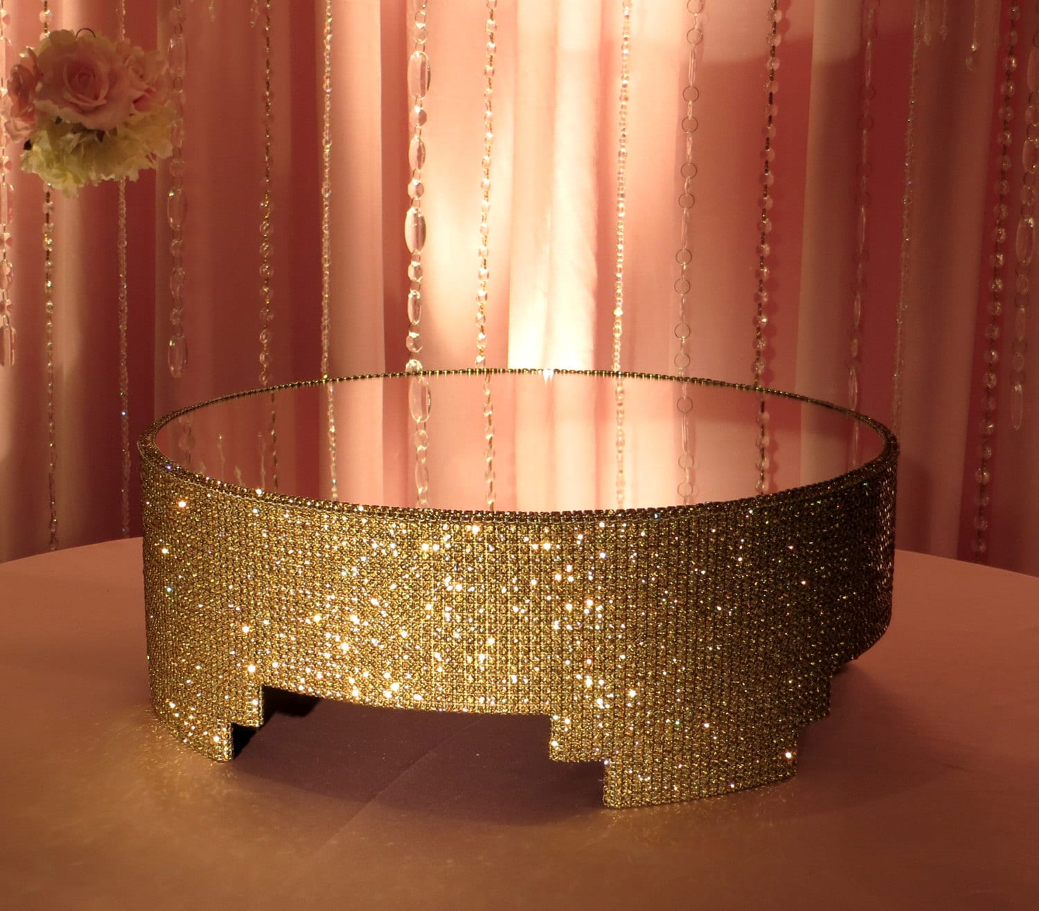 Round Gold Crystal Covered Cake Stand