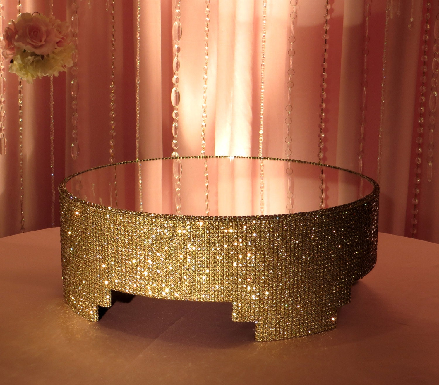 16 Round Gold Crystal Covered Cake Stand