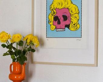 """MARILYN SKULL"" - screen print - printed silkscreen poster"