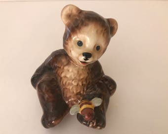 "Vintage Goebel Porcelain Teddy Bear with Bee Figurine-Made in W. Germany- 3"" tall-Numbered"