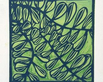 Lino Print Linocut Leaves on Green Original Handpulled Print