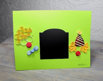 Greetings card, personalised card, custom card, chalkboard, quilled clowns, blank card, quilled card,quilling
