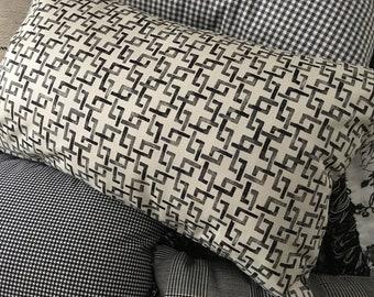 """Black and white geometric 12x20"""" throw pillow"""