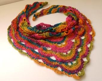Crochet Virus Shawl, Fairy Kei Shirt, Pop Kei Harajuku Scarf, Rainbow Unicorn Scarf, Cute Rainbow Scarf, Haute Couture, Colorful Scarf