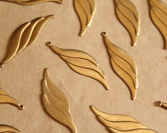 10 pc. Raw Brass Geometric Wave Dangle Charms - Left : 40mm by 12mm - made in USA   RB-1126