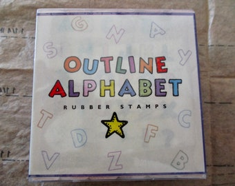 set of 30 mounted alphabet RUBBER STAMPS - Outline Alphabet, new in package, Hero Arts