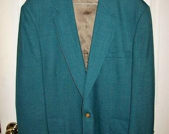 Vintage 1970s Mens Teal Green Sport Coat Blazer by Stafford 46 REG Only 18 USD