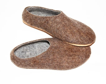 clogs for men, wool slippers, boiled wool shoes, eco friendly wool, rubber soles, minimalist shoes, personalized shoes