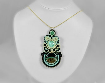 Black pendant, black necklace, mint green pendant, soutache pendant, soutache necklace, soutache jewellery, gift for woman Mint Evening