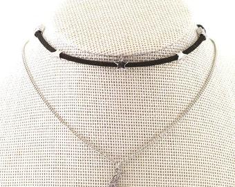 Star and Moon Pendant Suede Choker, moon and star necklace, moon and star choker necklace, Silver MOON CHOKER Necklace - Moon with Star CHok