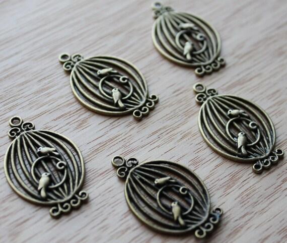 Jewelry Supplies- 2 pieces. 20mm Antique Bronze Round Birdcage Charm - Little Laser Lab
