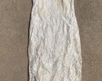 The Vintage Beige White Lace Strapless Dress