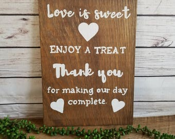 """Wedding Candy Table Sign, Candy Buffet, Sweet Treat, Sweets Table, Candy Bar, Love is Sweet Take a Treat, Bridal Shower Sign, 15""""x11"""""""