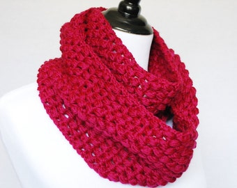 Pink Crochet Infinity Scarf, Puff Stitch Neck Warmer, Pink Cowl, Wrap Scarf - Berry Red, Magenta, Fuchsia, Cranberry Pink