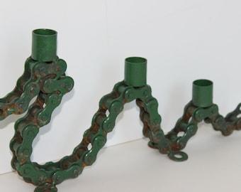Vintage Steampunk Motorcycle Chain Candle holder Sculpture Dragon Candelabra Tramp Art