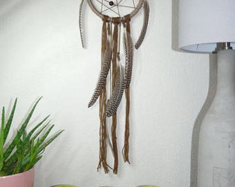 Boho dream catcher Brown natural Brown wool with feathers wooden beads / dream catcher / deco Bohemian / boho