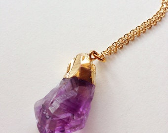 Rough Cut Amethyst Necklace, purple amethyst, Gold Amethyst Necklace