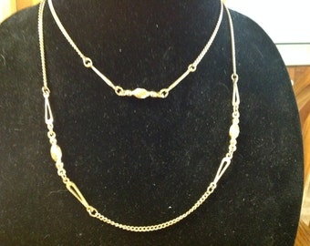 Vintage Gold Tone Twisted Bead Necklace