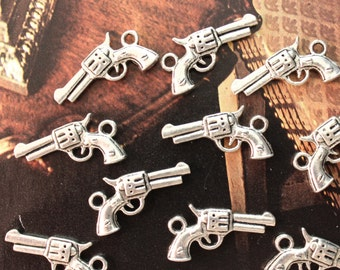 10 Pistol Charms Pistol Pendants Antiqued Tibetan Silver Tone 3D 10 x 20 mm