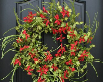 SUMMER Wreath, Red Daisy Wreath, SUMMER Front Door Wreath, Door Wreaths For  Summer