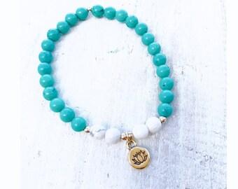 Lotus, Turquoise, Howlite Gemstone Bracelet - Calm, Healing, Strength - ZEN by Karen Moore - 7th & 5th Chakra