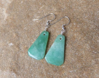 Elegant green Chrysoprase Earrings, gem stone jewelry, handmade in Australia - natural stone jewellery - green crystal earrings