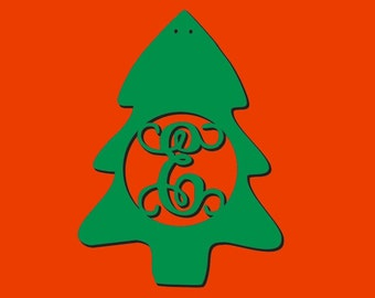 Unfinished Wood Christmas Tree - Vine Monogram in 17 x 23 inch