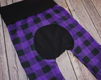 Maxaloones Grow With Me Pants Purple Buffalo Plaid Baby Leggings