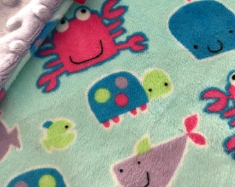 Minky Lovey Blanket, Security Blanket Multi Colored Sea Creatures Print Minky with Lavender Dimple Dot Minky Backing - great for a new baby