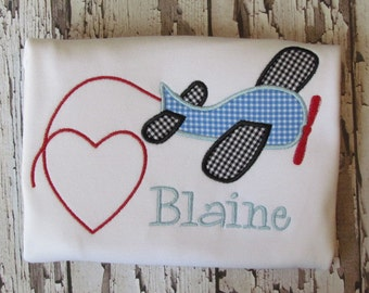 Personalized Boys Valentine airplane applique shirt / onesie FREE MONOGRAM