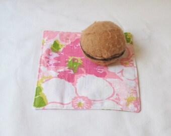 Pink Picnic Cocktail Napkins - Set Retro Vintage Floral Eco-Friendly - Homewares Coasters Entertaining