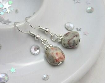 Botswana Agate Silver Plated Hook Dangle Earrings with Stoppers, Dangly Earrings, Grey Red Earrings, Dangle,