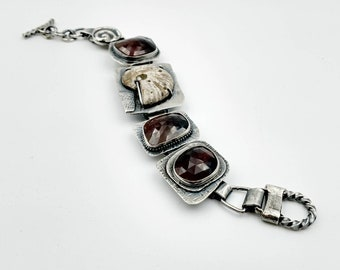 Handmade Woman's Sterling Silver Bracelet with Checker-Cut Natural Sapphire, Fossil Ammonite. 8""