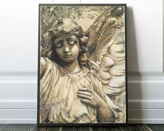 Angel Art Print, Guardian Angel Statue Wall Art, Large Inspirational Print of a Beautiful Angel Statue, Angel Wall Decor