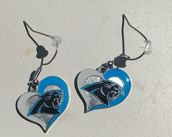 Carolina Panthers Earrings, 3 styles, NEW Heart shaped